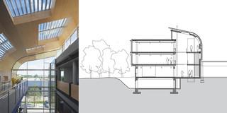Betontragwerk, Glasfassade, Lamelle, Holzverkleidung, Erweiterung, Privat, Büro, Verwaltung, Café, Architektur, KTP, Kauffmann Theilig Partner, Freie Architekten PartGmbB, Stuttgart,