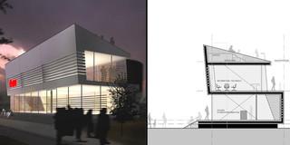 Neubau, Konzept, Temporär, Modular, Stahltragwerk, Flachdach, Wiederverwertbar, Privat, Ausstellung, Bar
