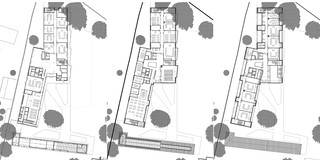 Innerstädtisch, Denkmalschutz, Neubau, Beton-Holz-Tragwerk, Ziegelfassade, Glasfassade, Tiefgarage, Park, Terrassen, Privat, Großprojekt, Schulung, Veranstaltung, Mensa, Büro