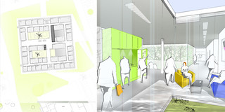Neubau, Konzept, Farbe, Betontragwerk, Glasfassade, Lamelle, Atrium, Privat, Büro, Verwaltung, Konferenz