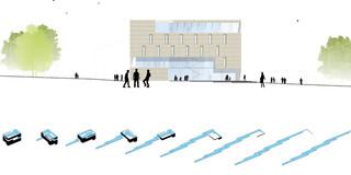 Solitär, Neubau, Konzept, Städtebau, Betontragwerk, Klinkerfassade, Park, Sportflächen, Terrasse, Privat, Wohnen, Büro, Verwaltung, Sport, Freizeit, Schulung