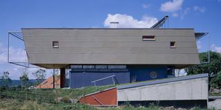 Neubau, Beton-Holz-Tragwerk, Holzfassade, Glasfassade, Flachdach, Garten, Terrasse, Privat, Wohnen, Architektur, KTP, Kauffmann Theilig Partner, Freie Architekten PartGmbB, Stuttgart, Einfamilienhaus