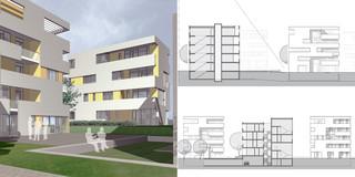 Neubau, Konzept, Städtebau, Betontragwerk, WDVS, Flachdach, Balkone, Tiefgarage, Garten, Privat, Wohnen