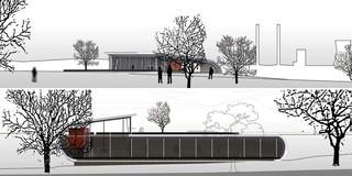 Solitär, Freiform, Konzept, Beton-Holz-Tragwerk, Glasfassade, Öffentliche Hand, Restaurant, Baden, Freizeit, Sport