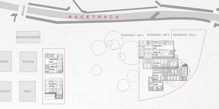 Solitär, Neubau, Temporär, Konzept, Modular, Wiederverwertbar, Stahl-Holz-Tragwerk, Holzfassade, PVC-Folie, Garten, Privat, öffentlich zugänglich, Ausstellung, Café, Aufenthalt, Shop
