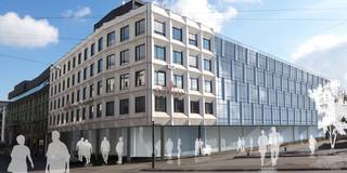 Innerstädtisch, Erweiterung, Konzept, Betontragwerk, Glasfassade, Flachdach, Tiefgarage, Balkone, Privat, Büro, Verwaltung