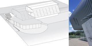 Neubau, Freiform, Bauabschnitte, Modular, Beton-Holz-Tragwerk, Glasfassade, Metallfassade, Holzverkleidung, Parkplatz, Garten, Balkon, Privat, Büro, Verwaltung