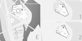 Solitär, Innerstädtisch, Erweiterung, Konzept, Freiform, Betontragwerk, Glasfassade, Metallfassade, Flachdach, Tiefgarage, Terrasse, Atrium, Platz, Privat, öffentlich zugänglich, Großprojekt, Museum, Ausstellung, Gastronomie, Shop