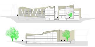 Innerstädtisch, Neubau, Konzept, Bauabschnitte, Betontragwerk, WDVS, Balkone, Innenhof, Privat, Wohnen, Gewerbe, Shops, Aufenthalt