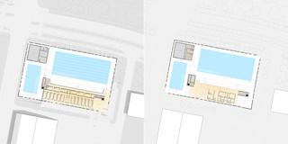 Innerstädtisch, Neubau, Konzept, Stahl-Beton-Tragwerk, Glasfassade, Parkplatz, Sportflächen, Öffentliche Hand, Großprojekt, öffentlich zugänglich, Baden, Sport, Gastronomie