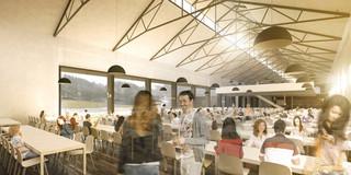 Innerstädtisch, Denkmalschutz, Erweiterung, Sanierung, Konzept, Stahltragwerk, Glasfassade, Terrasse, Platz, Privat, Restaurant, Cafeteria, Veranstaltung