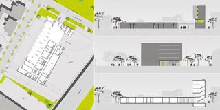Neubau, Konzept, Betontragwerk, Glasfassade, Klinkerfassade, Flachdach, Innenhof, Öffentliche Hand, Feuerwehr, Büro, Verwaltung, Leitstelle, Aufenthalt, Schulung